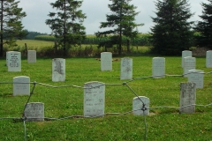 Picture of the graveyard showing the headstones